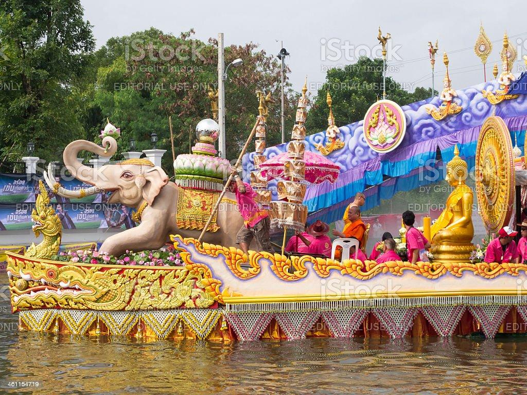 boat parade of LP Toh BangPlee stock photo