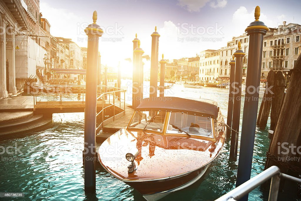 Boat parked in Venice royalty-free stock photo