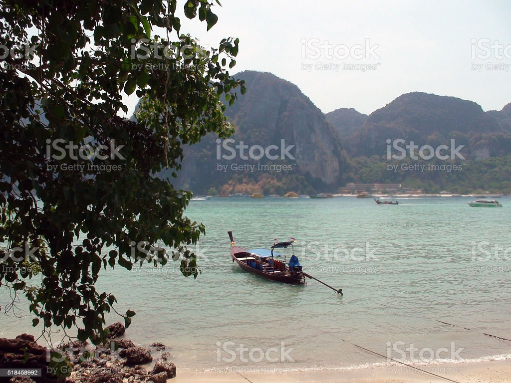 Boat Parked On Tonsai Bay In Phi Phi Island.Thailand Asia stock photo