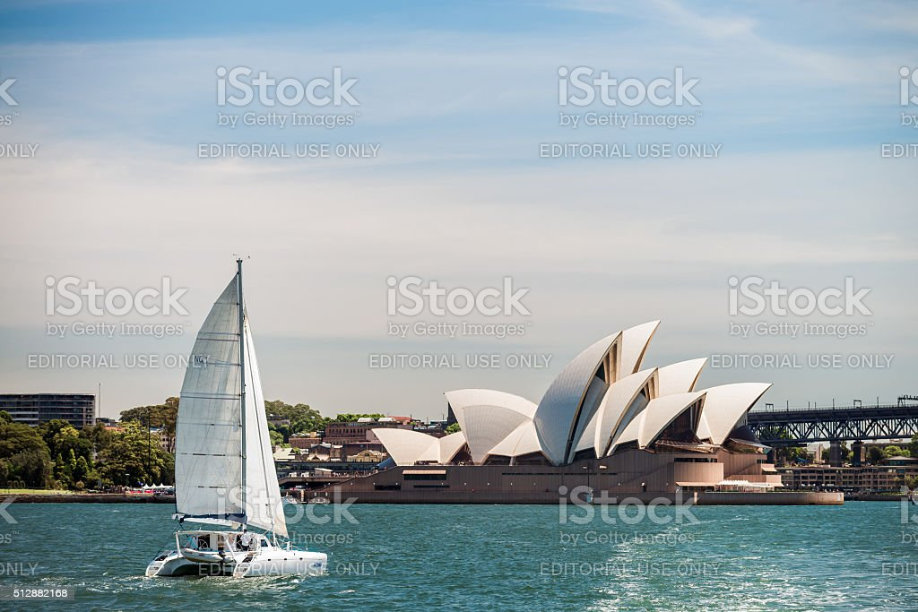 Boat passing by the Sydney Opera House stock photo