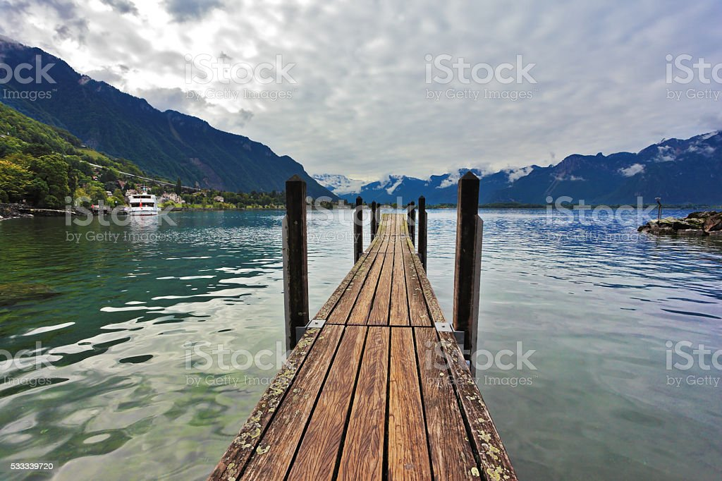 Boat pier on Lake Leman stock photo