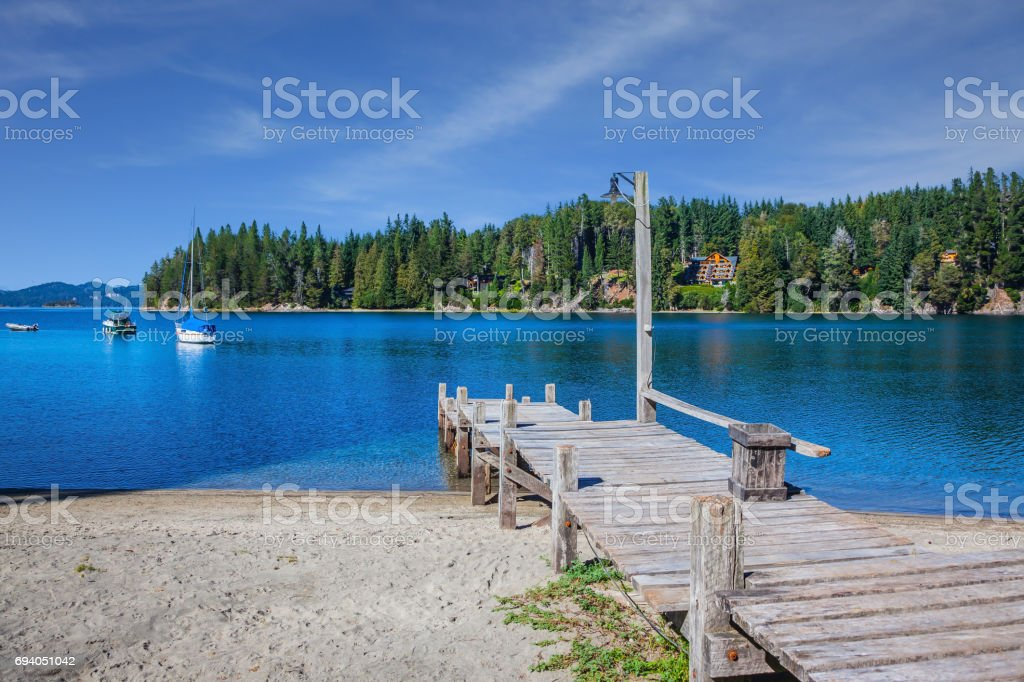 Boat pier on the lake stock photo
