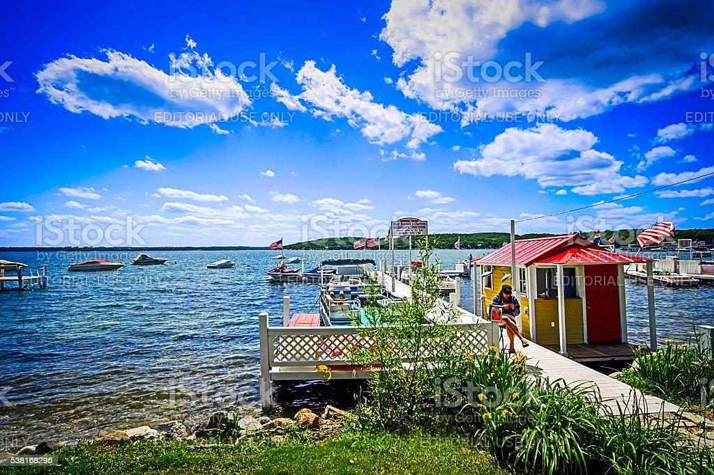 Boat rental center on Lake Geneva in Wisconsin stock photo