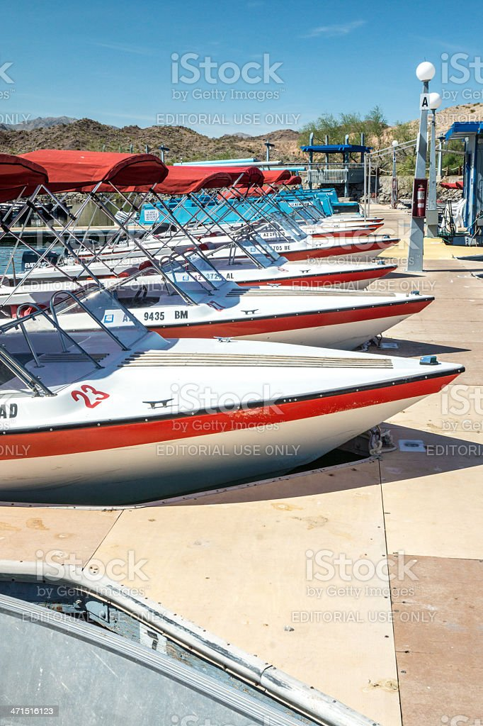 Boat Rental Fleet at Dock royalty-free stock photo