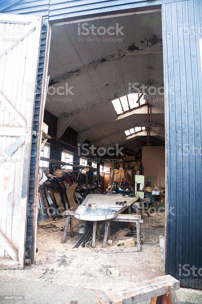 boat repair workshop in Maldon England stock photo