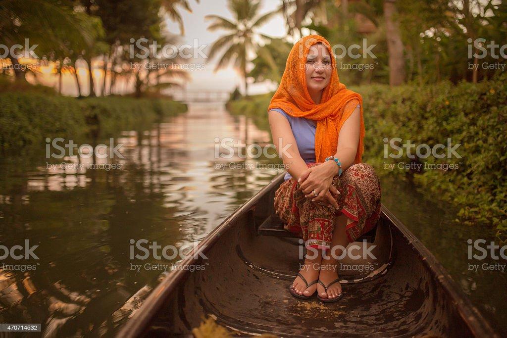 Boat ride in India stock photo