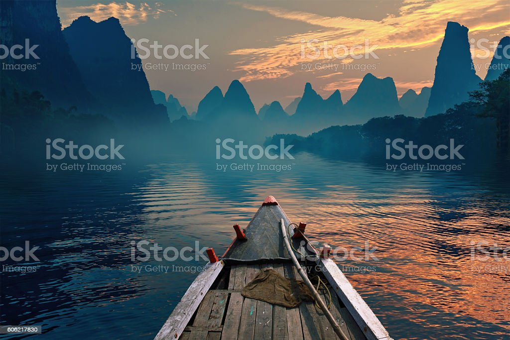 Boat riding in a river stock photo
