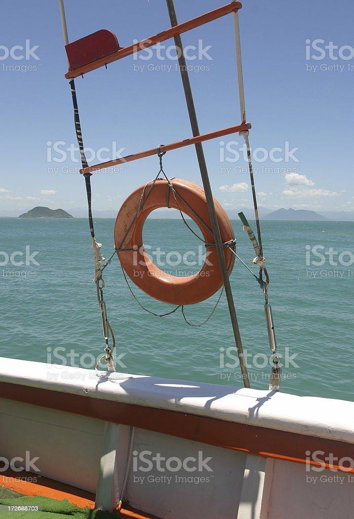 Boat rope and life-preserver ring royalty-free stock photo
