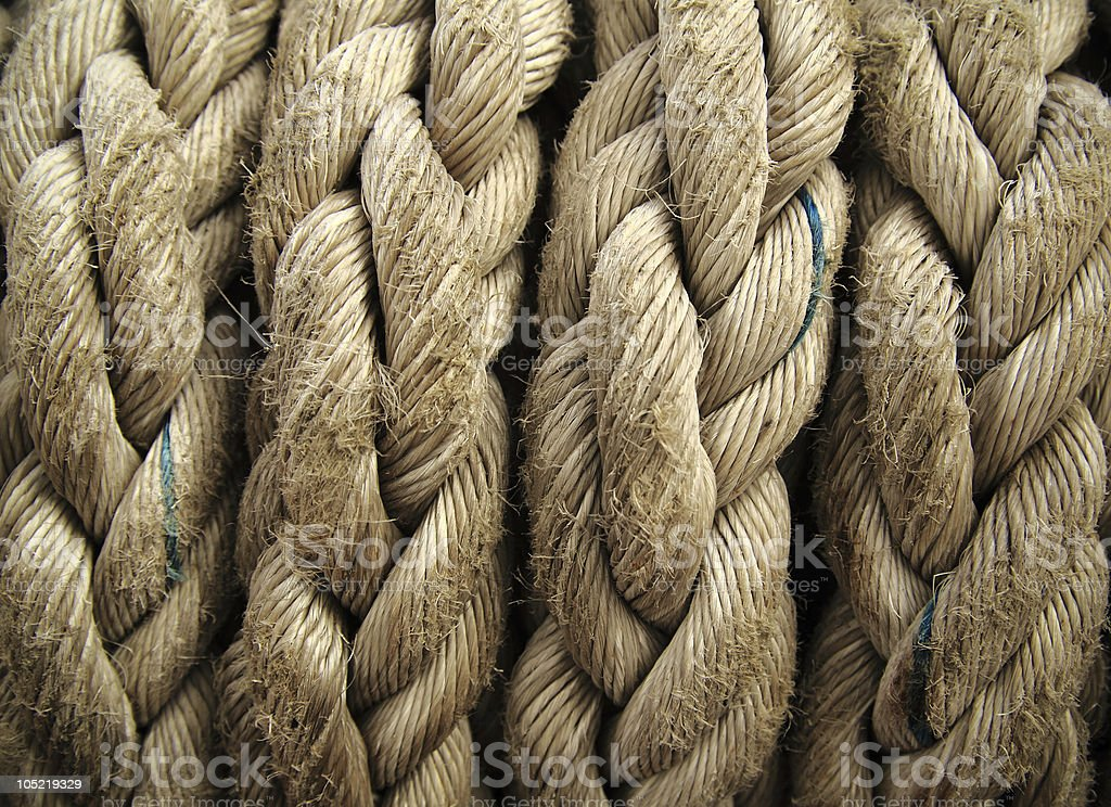 Boat rope closeup. Nautical background. royalty-free stock photo