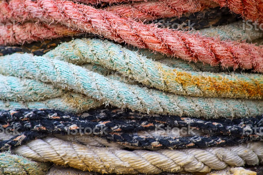 Boat ropes stock photo