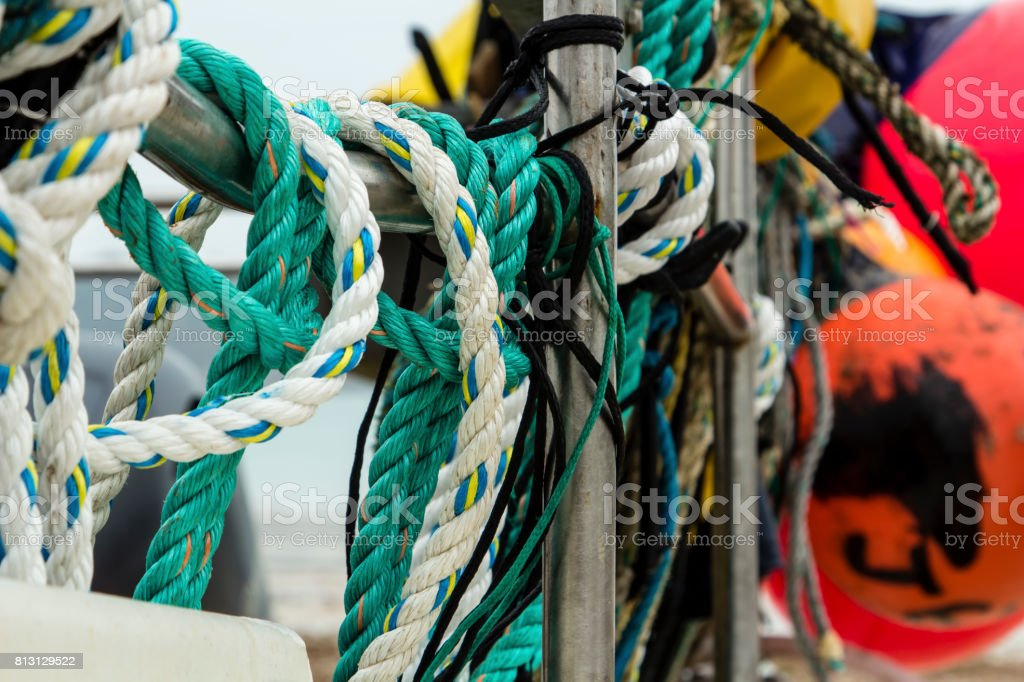 Boat ropes stock photo