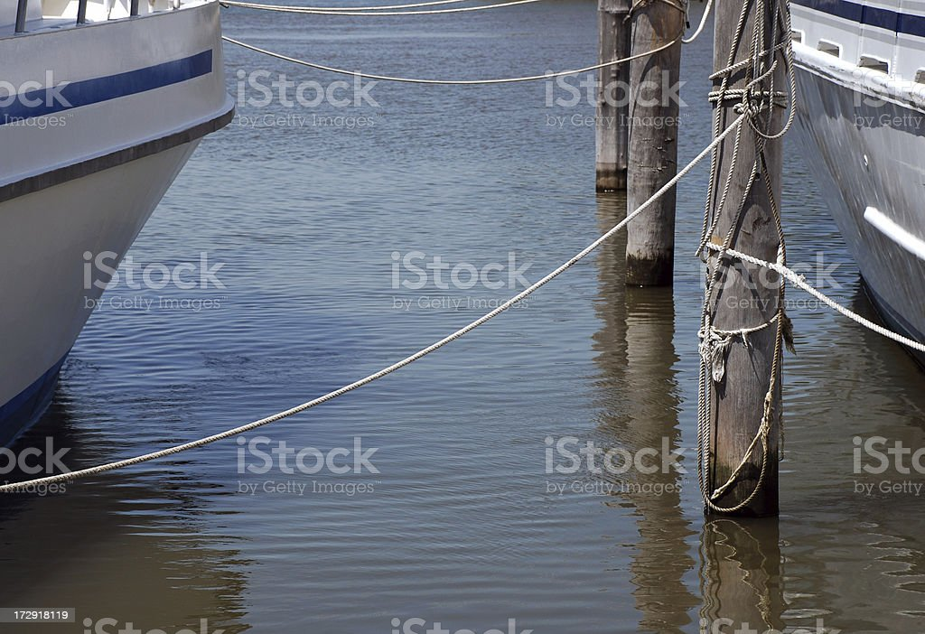 Boat ropes - Tied up royalty-free stock photo