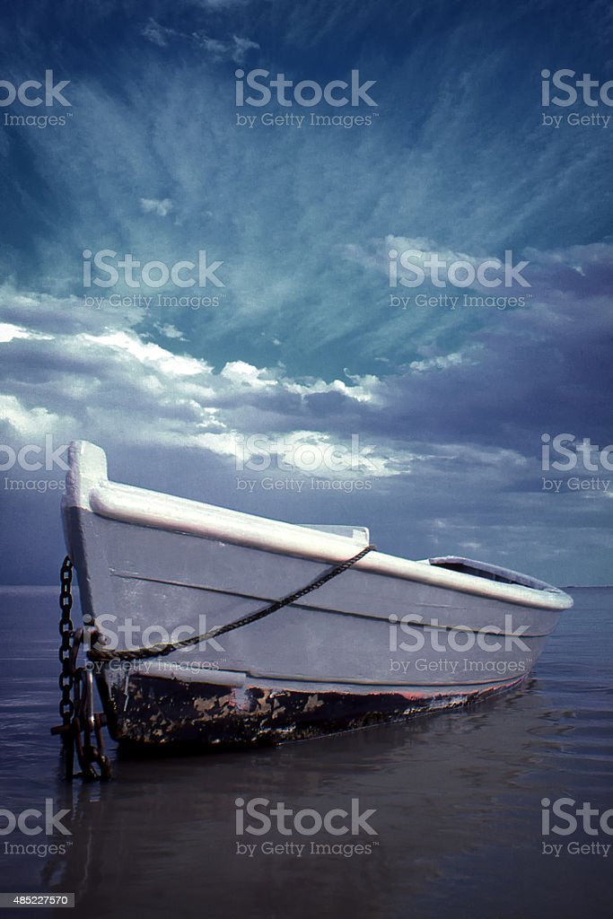 Boat Rowboat Clouds Cloudscape stock photo