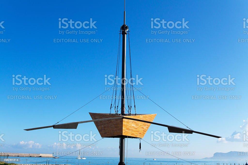 Boat sculpture Nautoscopio in Foro Italico stock photo