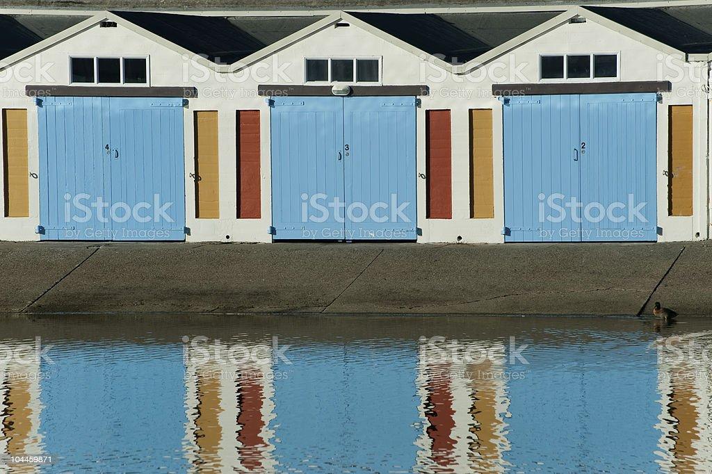 Hangares bote en el puerto de Wellington foto de stock libre de derechos