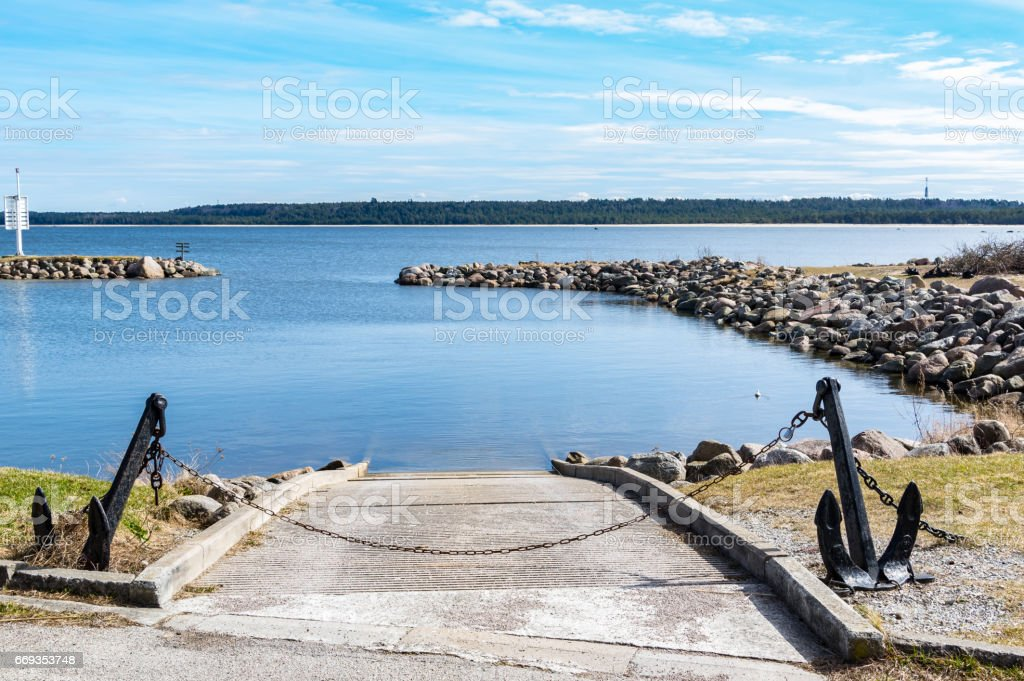 Boat Slip with Anchors stock photo