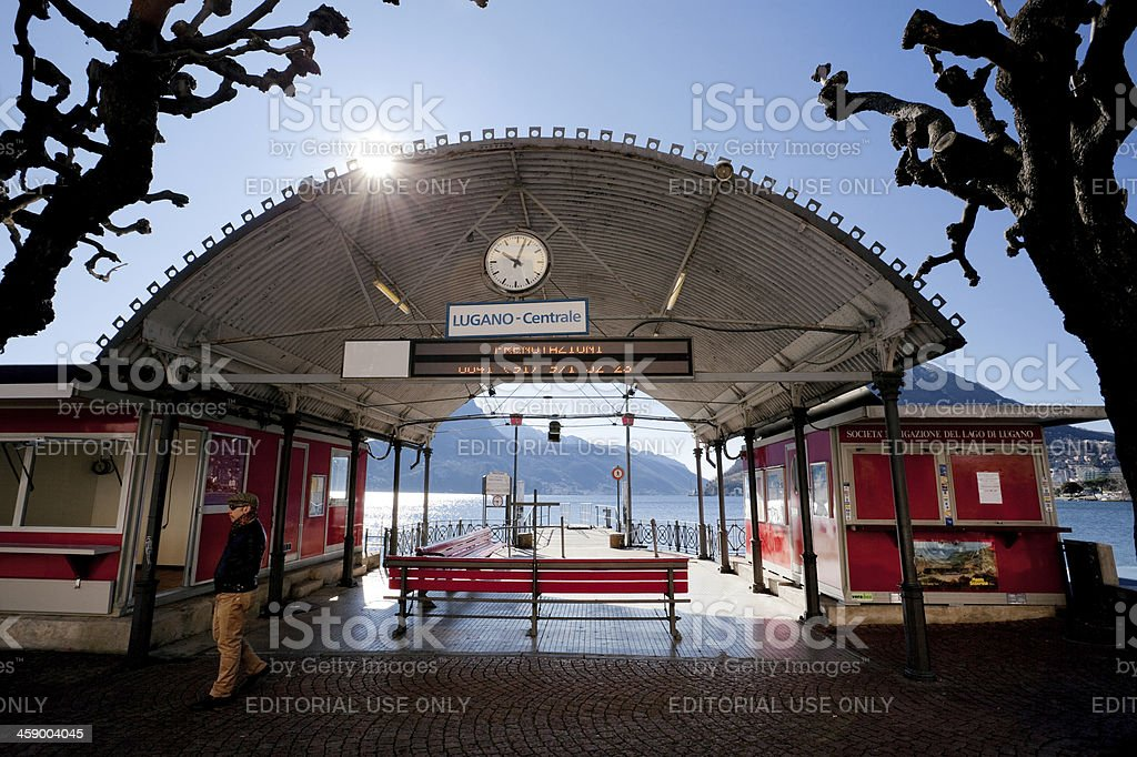 Boat station in Lugano stock photo
