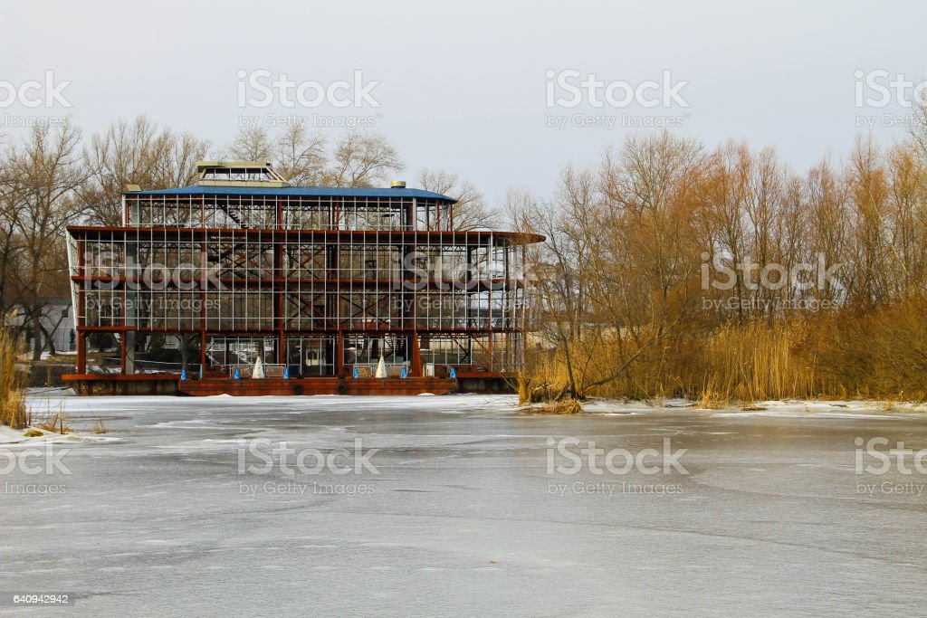 Boat station on the river Dnieper in Kremenchug, Ukraine stock photo