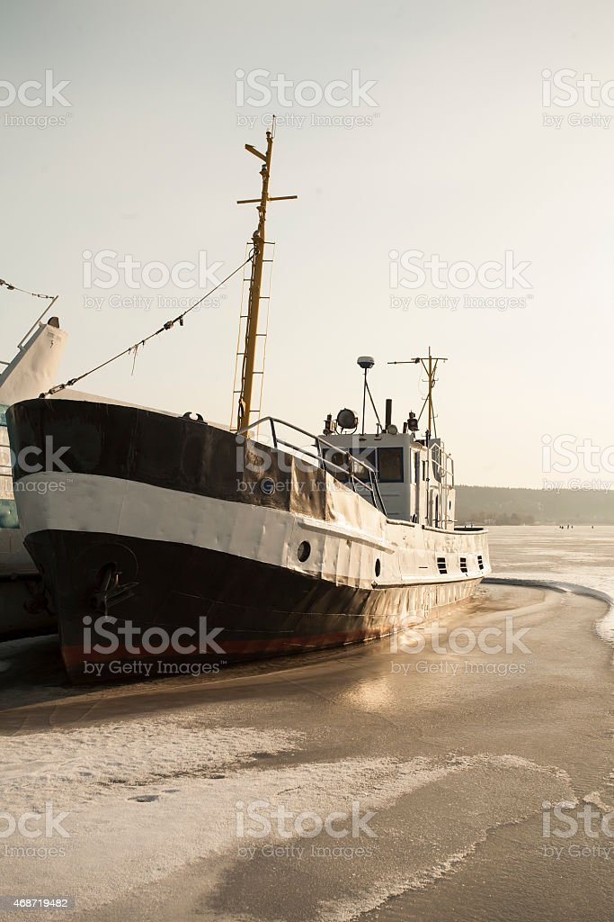 Boat Staying in Quay during  the Winter stock photo