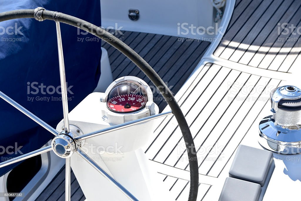 Boat steering station stock photo