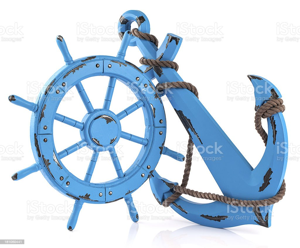 Boat Steering Wheel and Anchor royalty-free stock photo