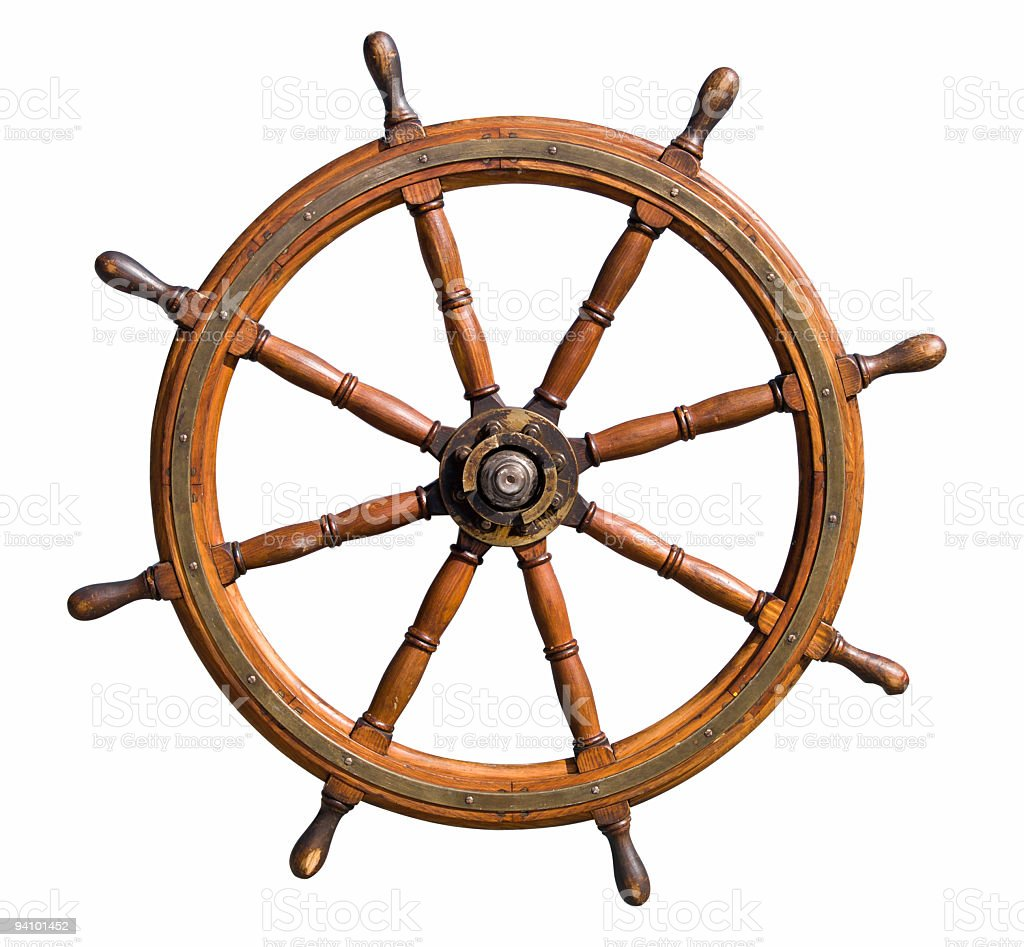 Boat steering wheel cutout stock photo