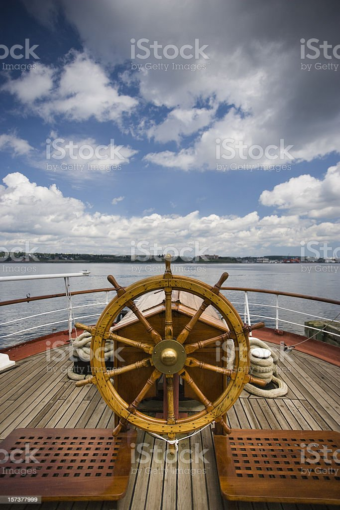 Boat steering wheel stock photo