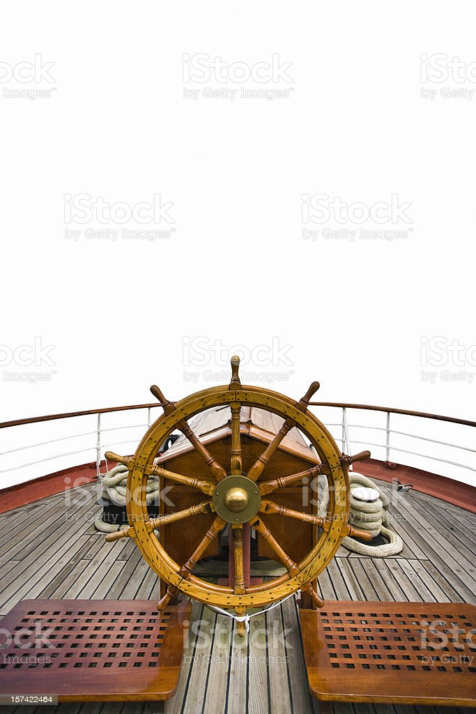 Boat sterring wheel stock photo