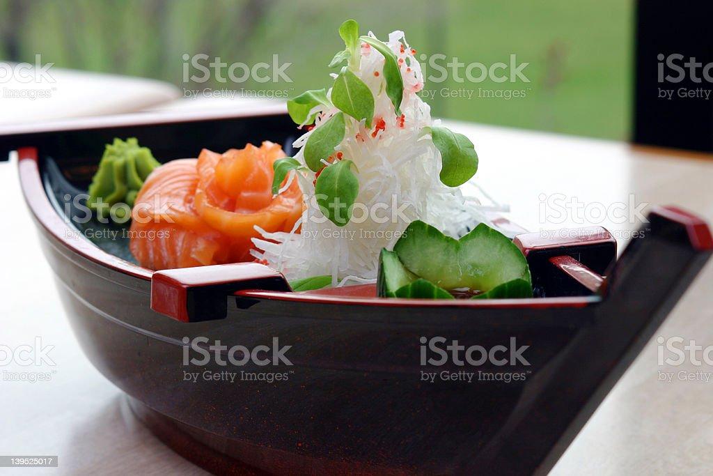 Boat Sushi Sampler royalty-free stock photo