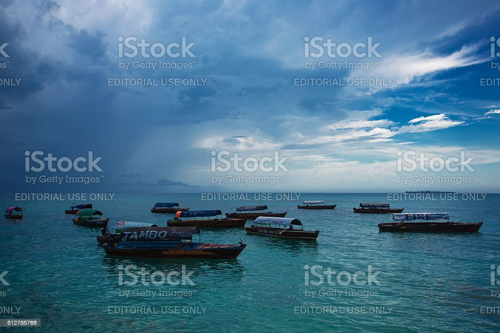 Boat taxi. Zanzibar stock photo