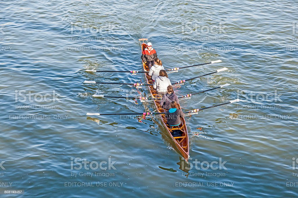 boat team trains at river main in Frankfurt, Germany. They train for...