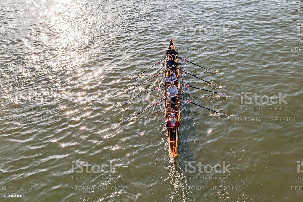 boat team trains at river main stock photo