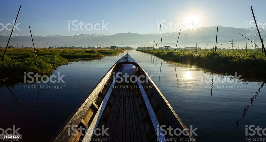 Boat to floating garden in Inle Lake, Myanmar stock photo