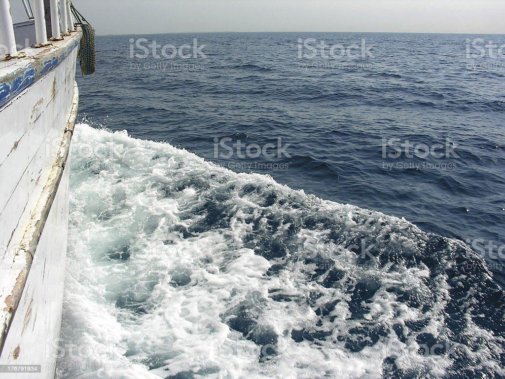 boat to horizon royalty-free stock photo