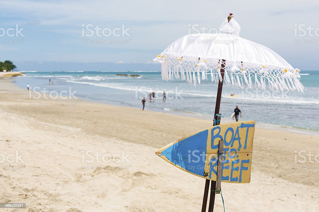 Boat to Kuta Reef Sign royalty-free stock photo