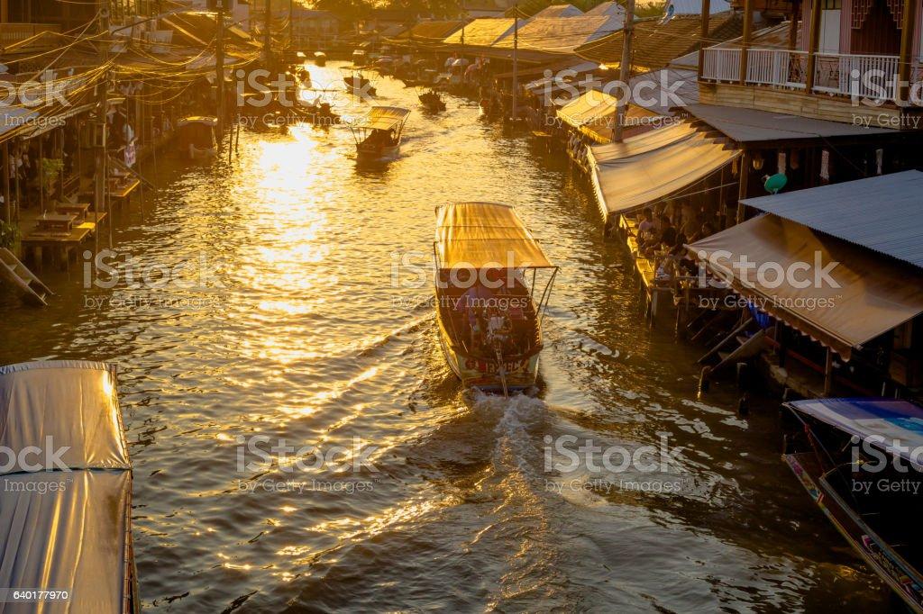 Boat tour Amphawa market in Thailand stock photo
