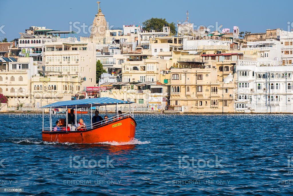 Boat tour in Udaipur stock photo