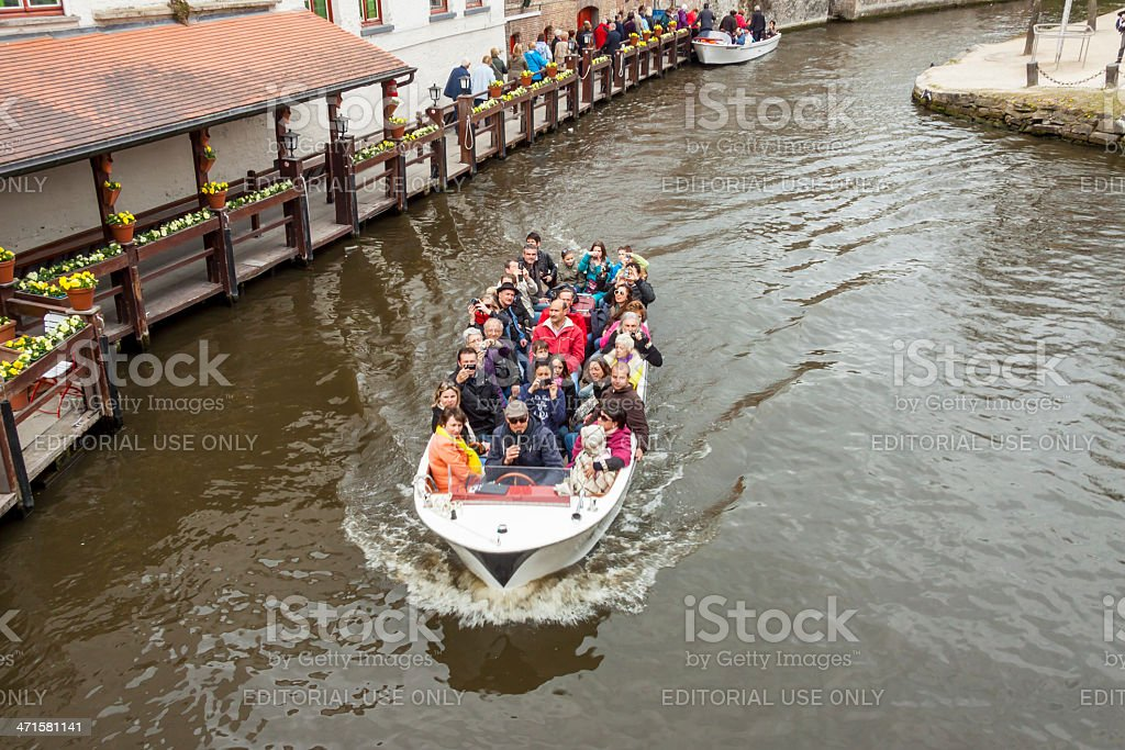 Boat tour into the canals of Old town - Burgge. royalty-free stock photo