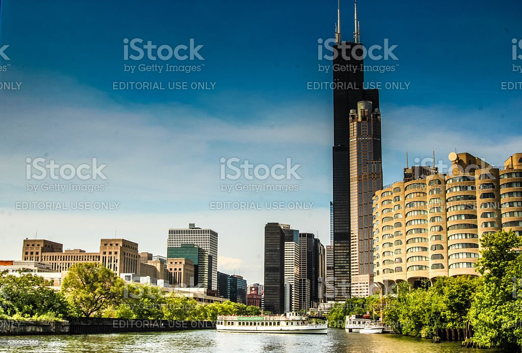 Boat tour of Chicago architecture stock photo