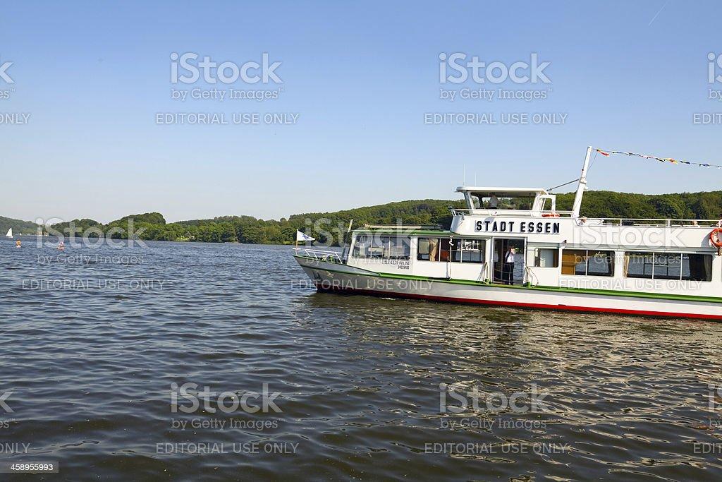 Boat tour on lake Baldeneysee stock photo