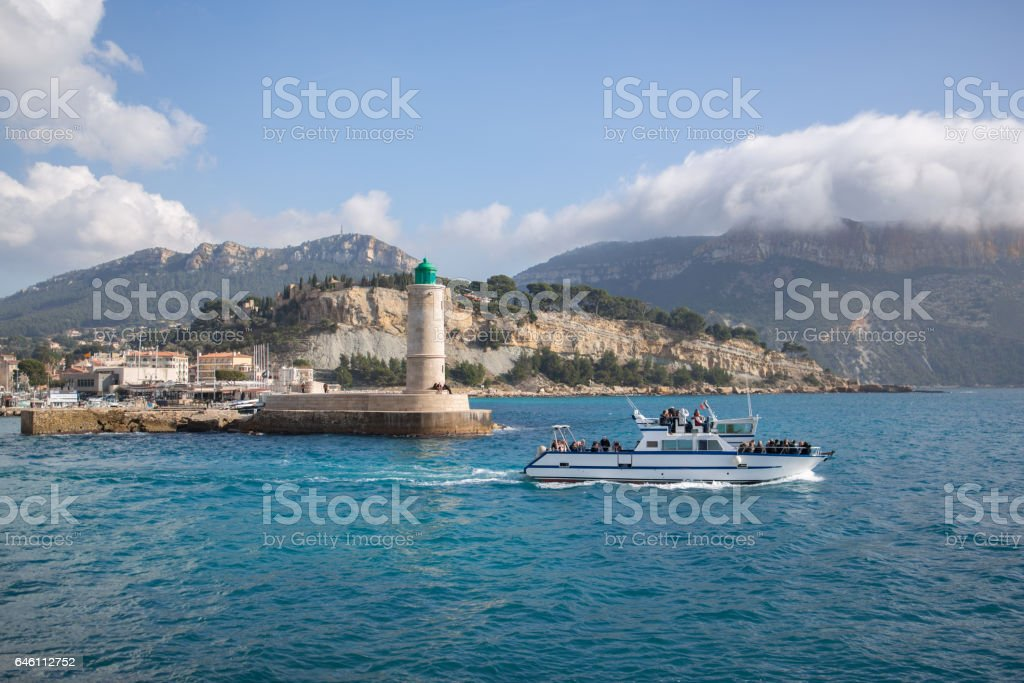 Boat tourists habor of Cassis stock photo
