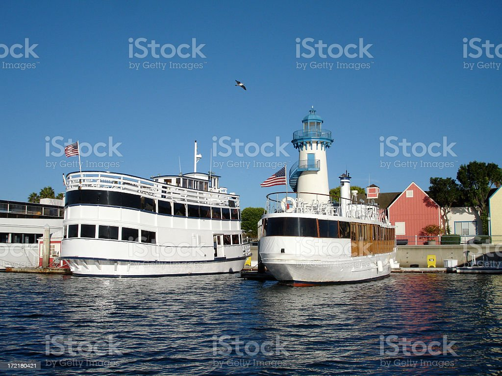 Boat Tours and Lighthouse Village stock photo