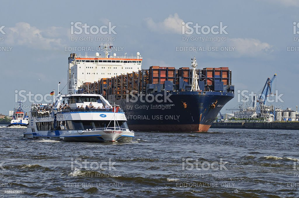 Boat traffic on the Elbe in Hamburg stock photo