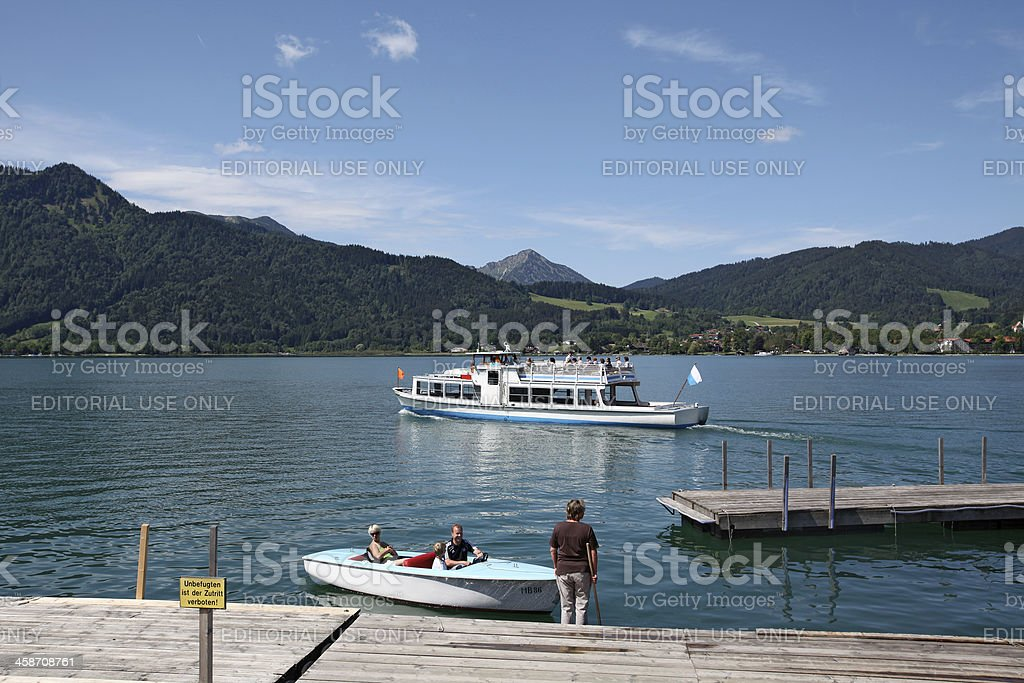 Boat traffic on the Lake Tegernsee stock photo