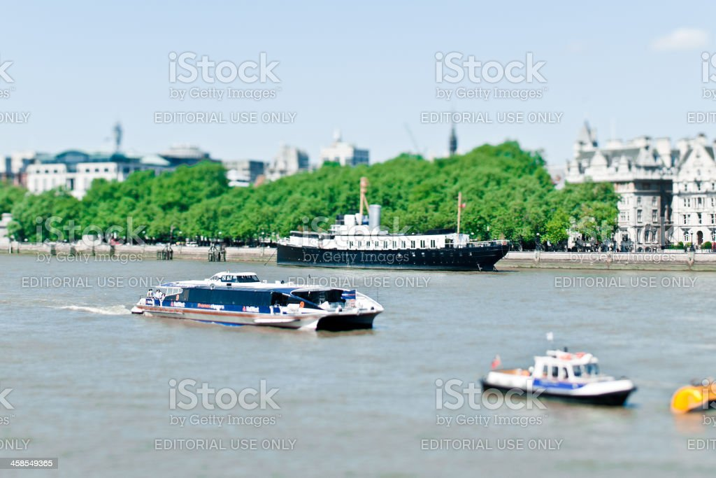 Boat Traffic on the Thames royalty-free stock photo