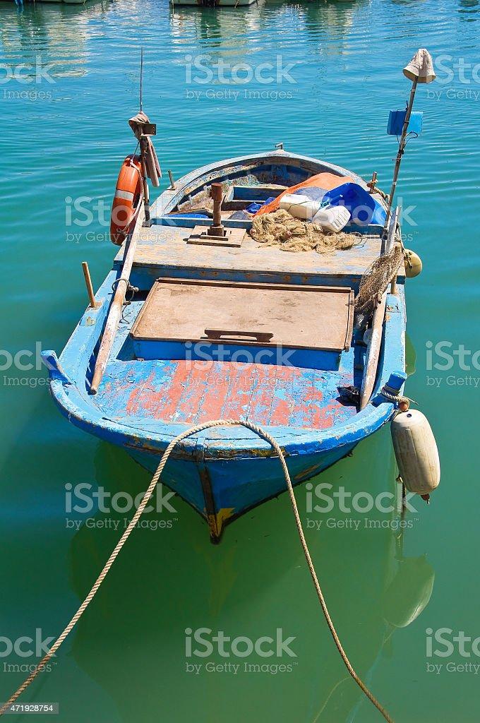 Boat. Trani. Puglia. Italy. stock photo