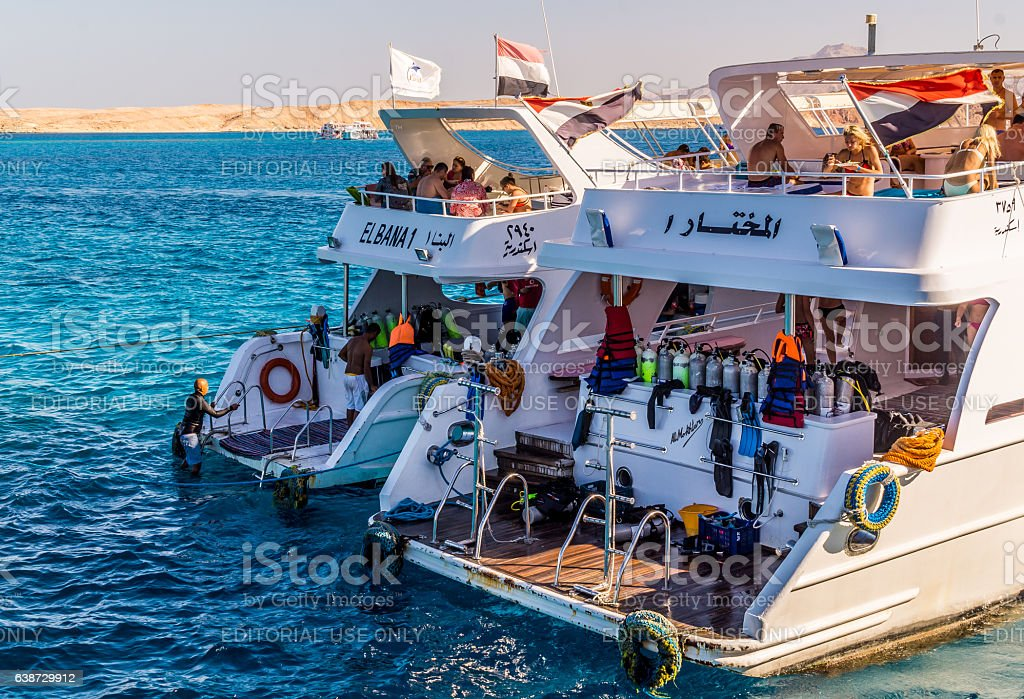 Boat trip and diving schools in Egypt stock photo