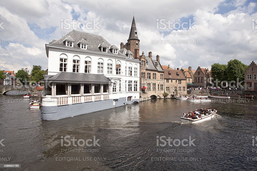 Boat Trip at Bruges Canals stock photo