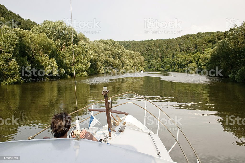Boat trip at river Fulda near Kassel stock photo