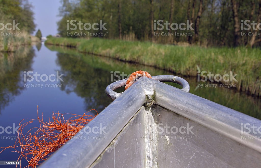 Boat trip in the Weerribben near Ossenzijl. royalty-free stock photo